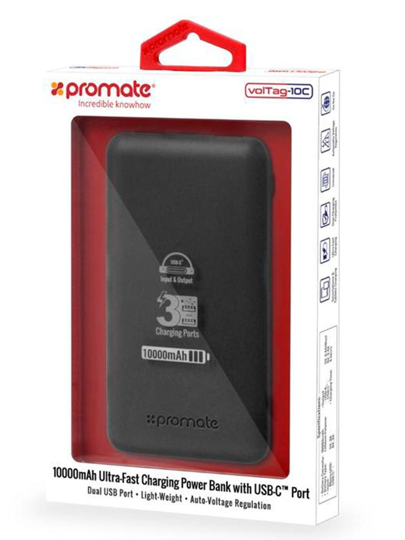 Внешний аккумулятор Promate VolTag-10C, черный внешний аккумулятор для экстренной подзарядки мобильных устройсв iphone ipad ipod htc камер 5400 ah