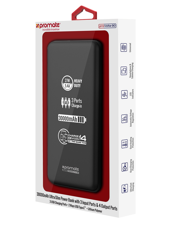 Внешний аккумулятор Promate proVolta-30, черный usb перезаряжаемый высокой яркости ударопрочный фонарик дальнего света конвой sos факел мощный самозащита 18650 батареи