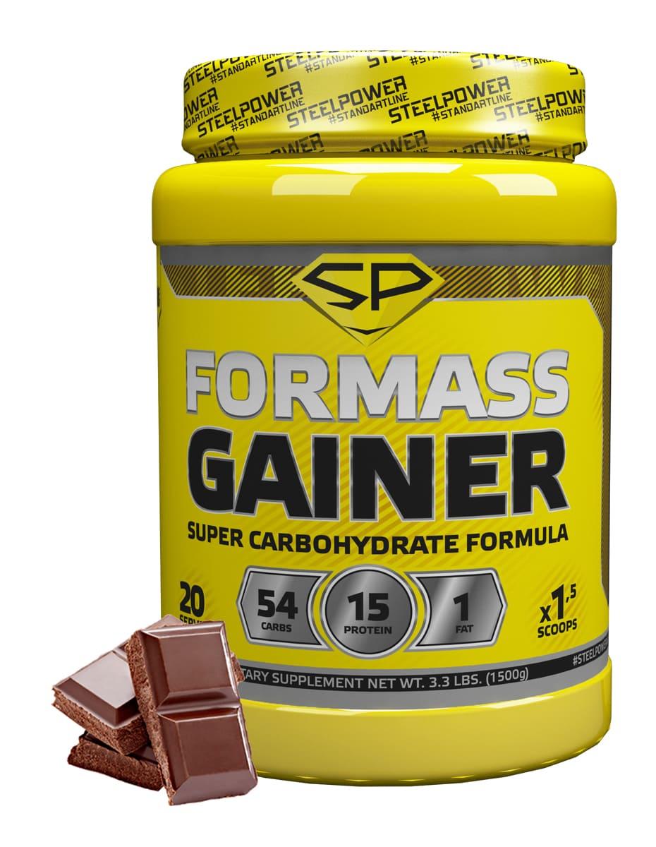 SteelPower Nutrition / Гейнер For Mass Gainer, 1500 г, Классический шоколад