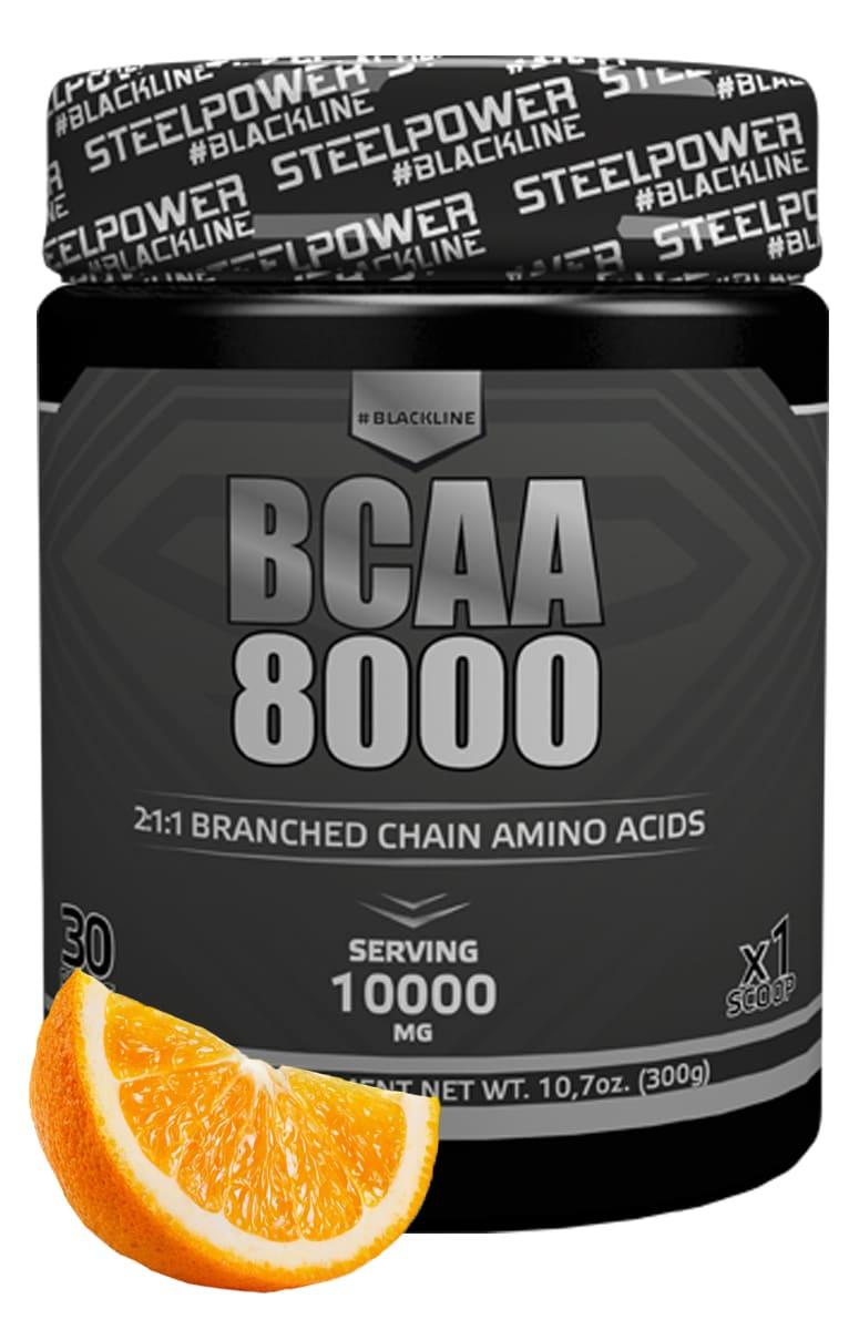 BCAA SteelPower Nutrition BCAA8000 300 г, вкус Апельсин bcaa 3300
