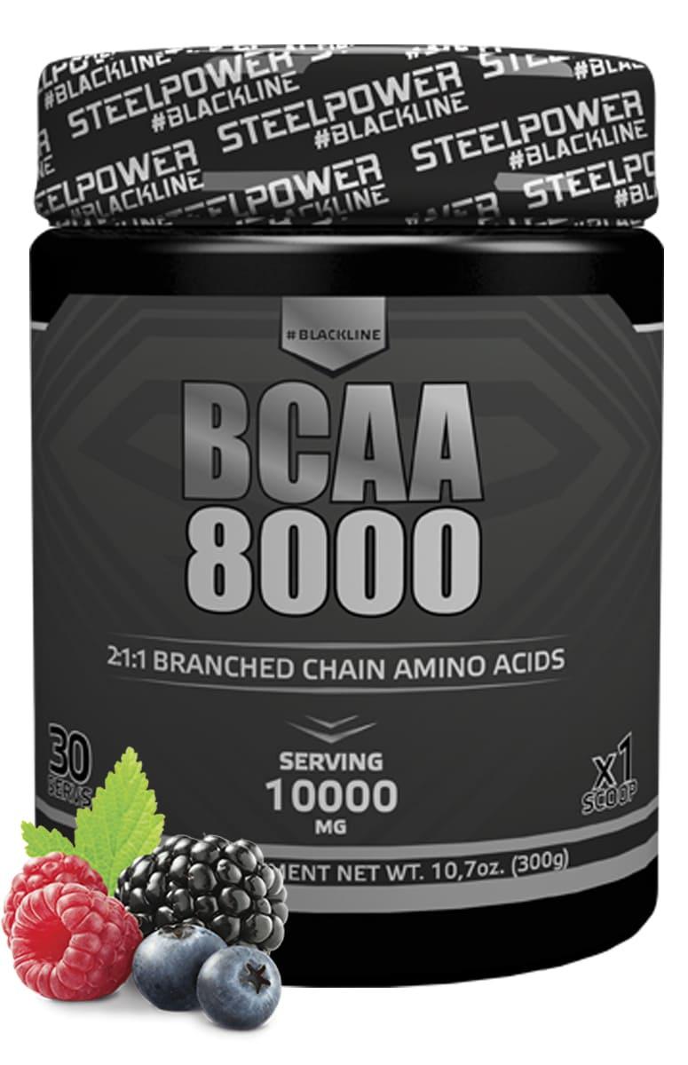 BCAA SteelPower Nutrition BCAA8000 300 г, вкус Лесные ягоды bcaa 3300