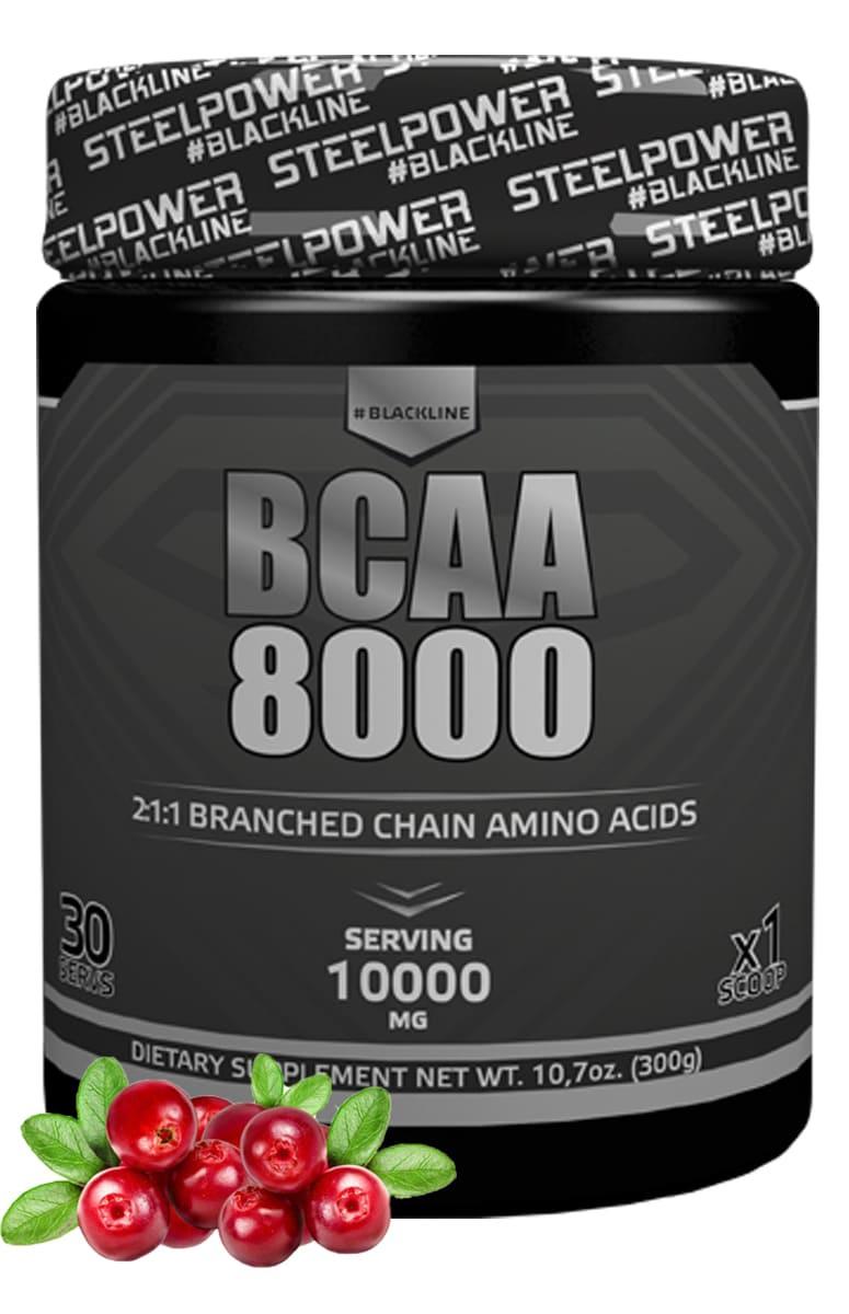 BCAA SteelPower Nutrition BCAA8000 300 г, вкус Клюква bcaa 3300