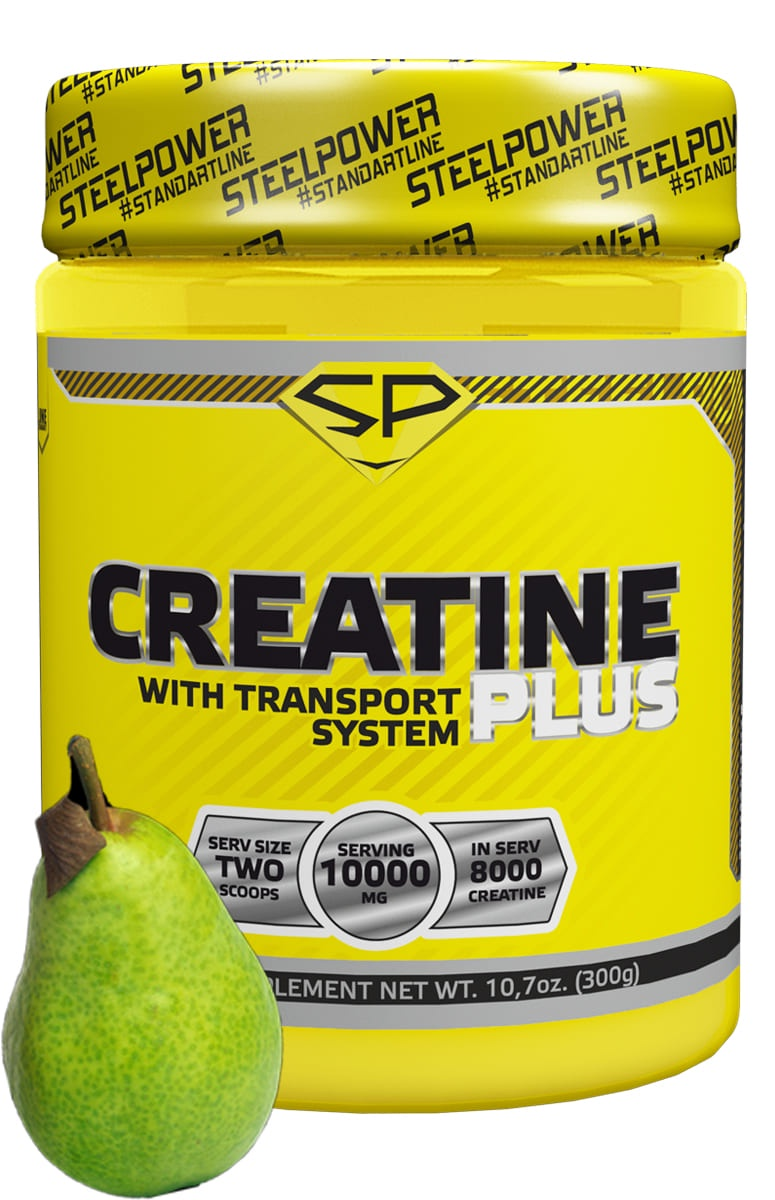 Креатин моногидрат SteelPower Nutrition CREATINE PLUS 300 г, вкус Груша205Креатин - это натуральное вещество, которое содержится в мышцах человека и животных, и требуется для энергетического обмена и выполнения движений. Он так же важен для жизни, как белок, углеводы, жиры, витамины и минералы.Это одна из немногих добавок в спортивном питании, эффективность которой подтверждается исследованиями. К настоящему моменту научно обосновано, что применение креатина может вызывать существенное увеличение массы тела и силы мышц (даже за одну неделю применения) и что применение именно этого препарата лежит в основе улучшения результатов тренировок высокой интенсивности. Суточный расход креатина в обычных условиях составляет примерно 2г, но в тех случаях, когда организм испытывает повышенные нагрузки, это значение кратно увеличивается и его запас должен быть пополнен с помощью диеты или за счет дополнительного приема спортивного питания.Состав:Креатин моногидрат, декстроза, лимонная кислота (регулятор кислотности), ароматизаторы натуральные и идентичные натуральным, подсластители (ацесульфам калия, сукралоза), краситель пищевой, антислеживающий агент (диоксид кремния).Рекомендации к применению:В фазе загрузки (первые 5 дней) рекомендуется принимать по 2 мерные ложки - 10 грамм два раза в день, смешав с 250мл воды или вашего любимого напитка. В период поддержания рекомендуется принимать по 1 мерной ложке два раза в день, после сна и после тренировки.