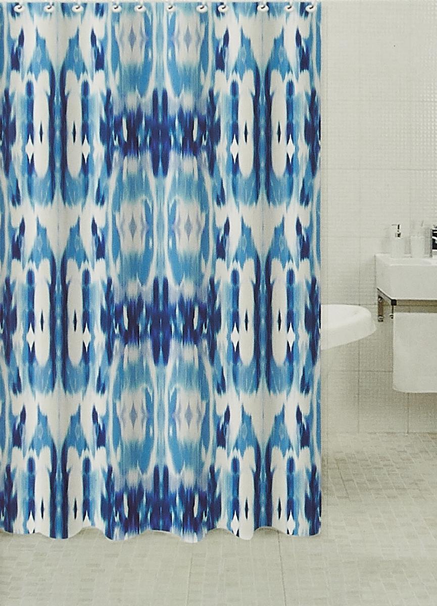 Штора для ванной комнаты RPE-730015, голубой, 180 х см
