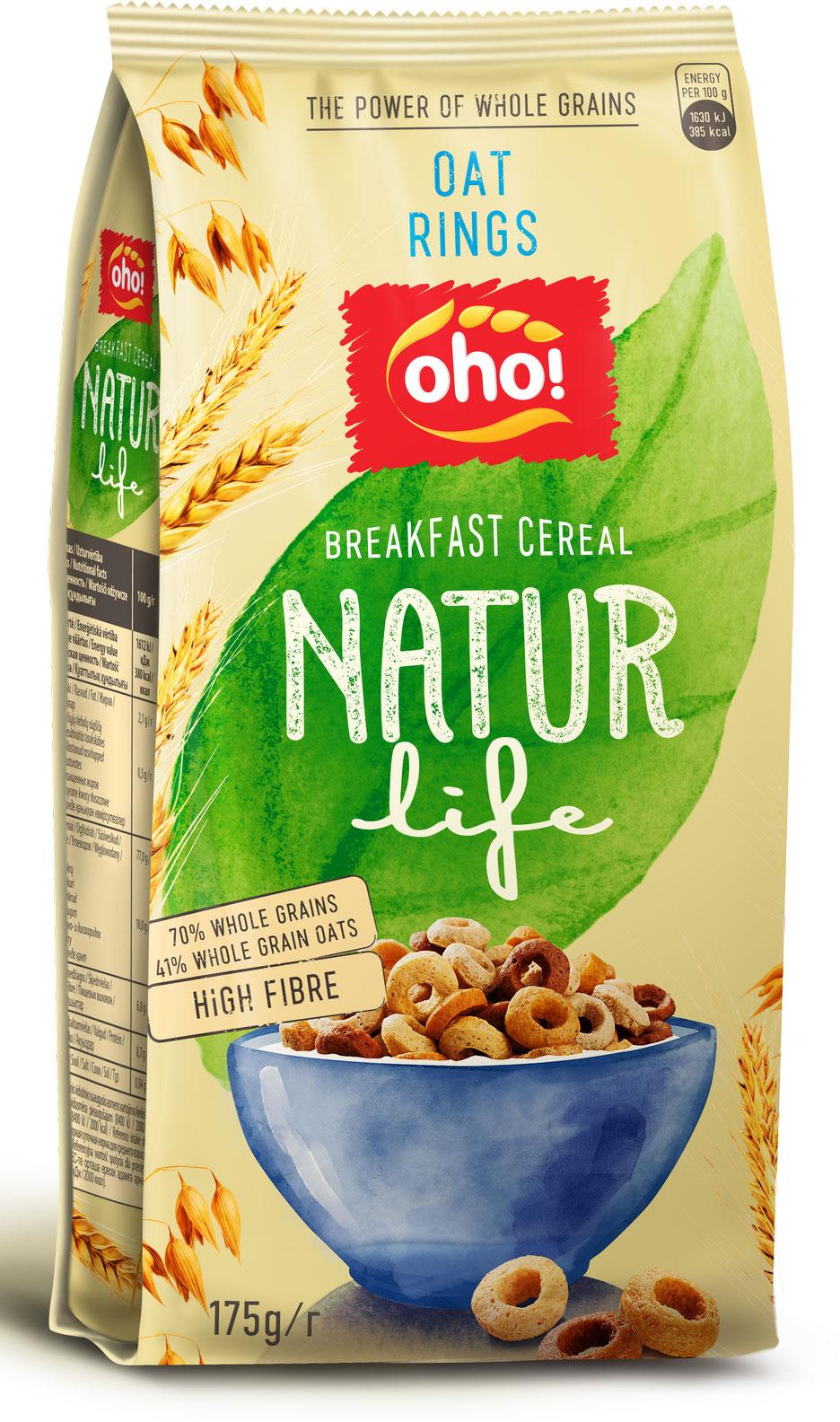 Готовый завтрак OhO! Natur Life Овсяные колечки, 175 г пудовъ мука пшеничная обойная цельнозерновая 1 кг