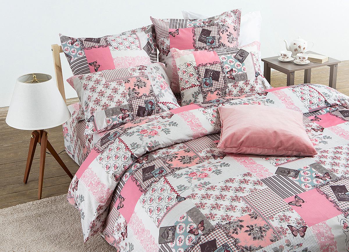 цена Комплект постельного белья Tiffany's Secret Секреты вдохновения Зефирные сны, семейный, 2040115982, наволочки 50х70, 70х81, розовый, серый онлайн в 2017 году