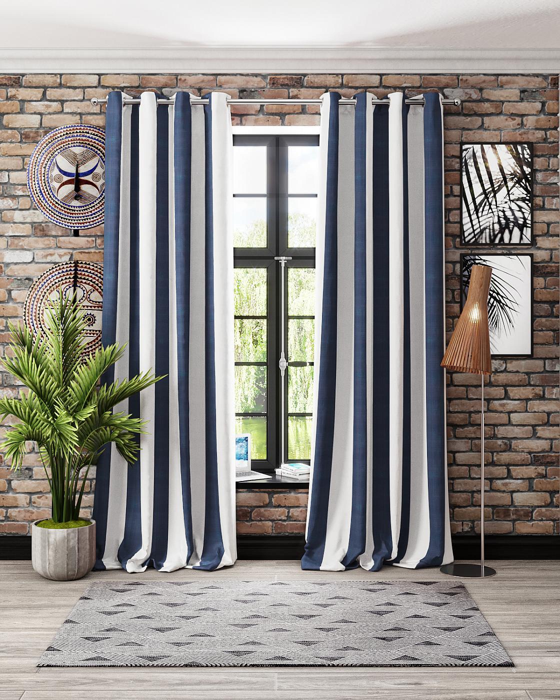 Комплект штор Томдом Биттл, белый, синий портьера томдом гловер бежевый