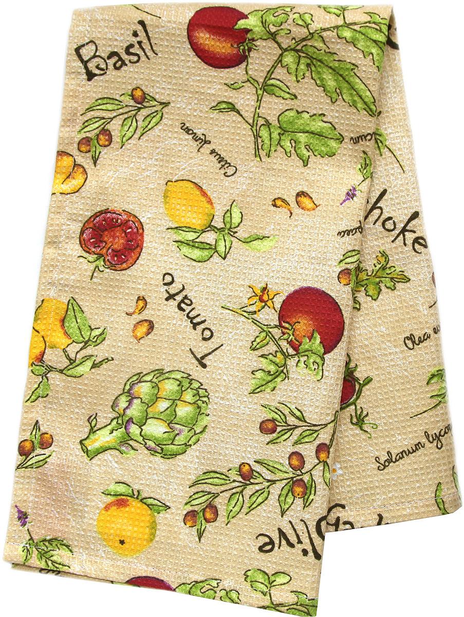 Полотенце кухонное Bonita Артишоки, вафельное, бежевый, 21010817798, 35 х 61 см полотенце кухонное bonita bonita mp002xu0e0b0