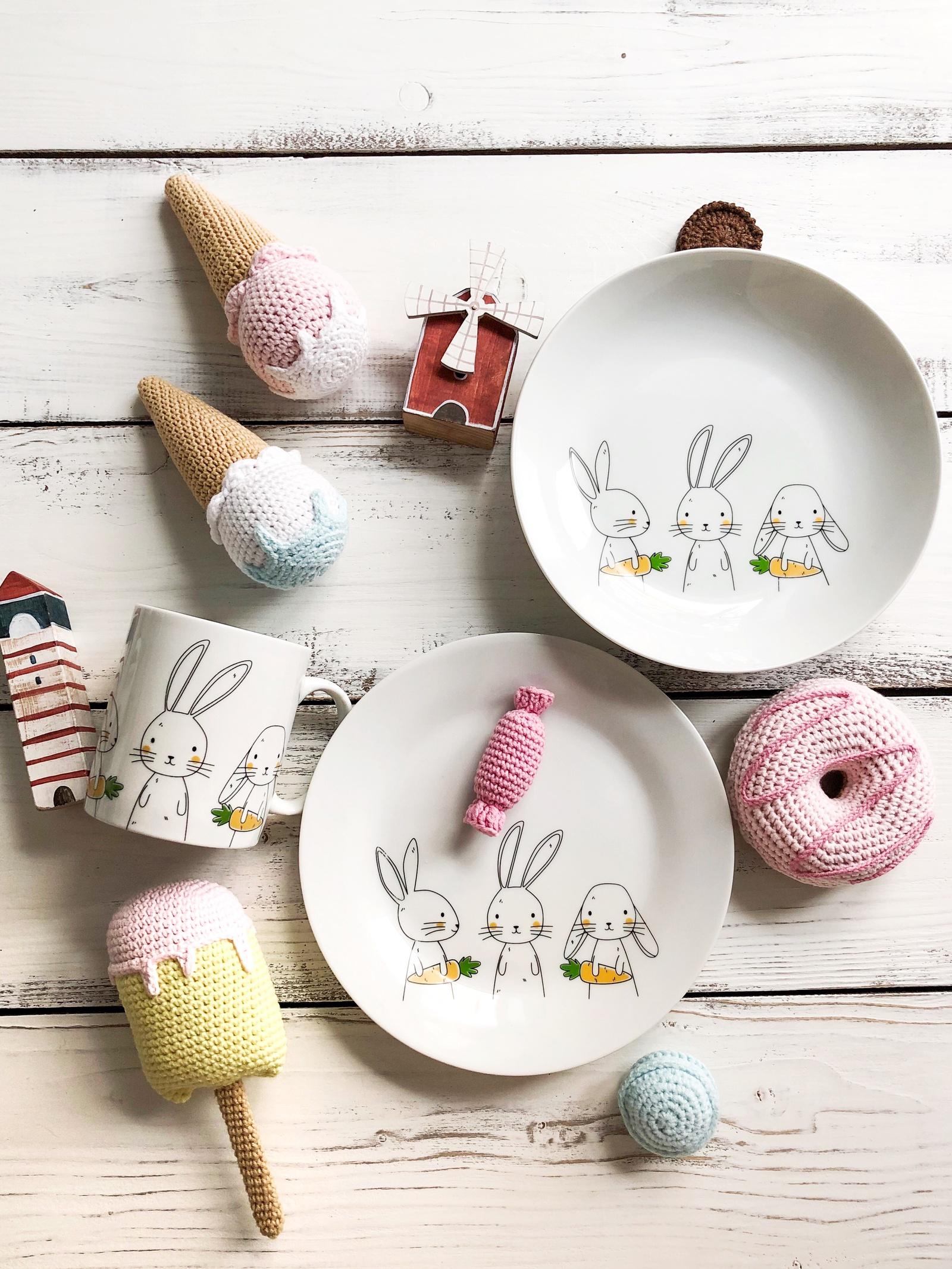 Набор посуды Bunny 3 в 1: кружка+тарелка+глубокая тарелка Sans Brides)