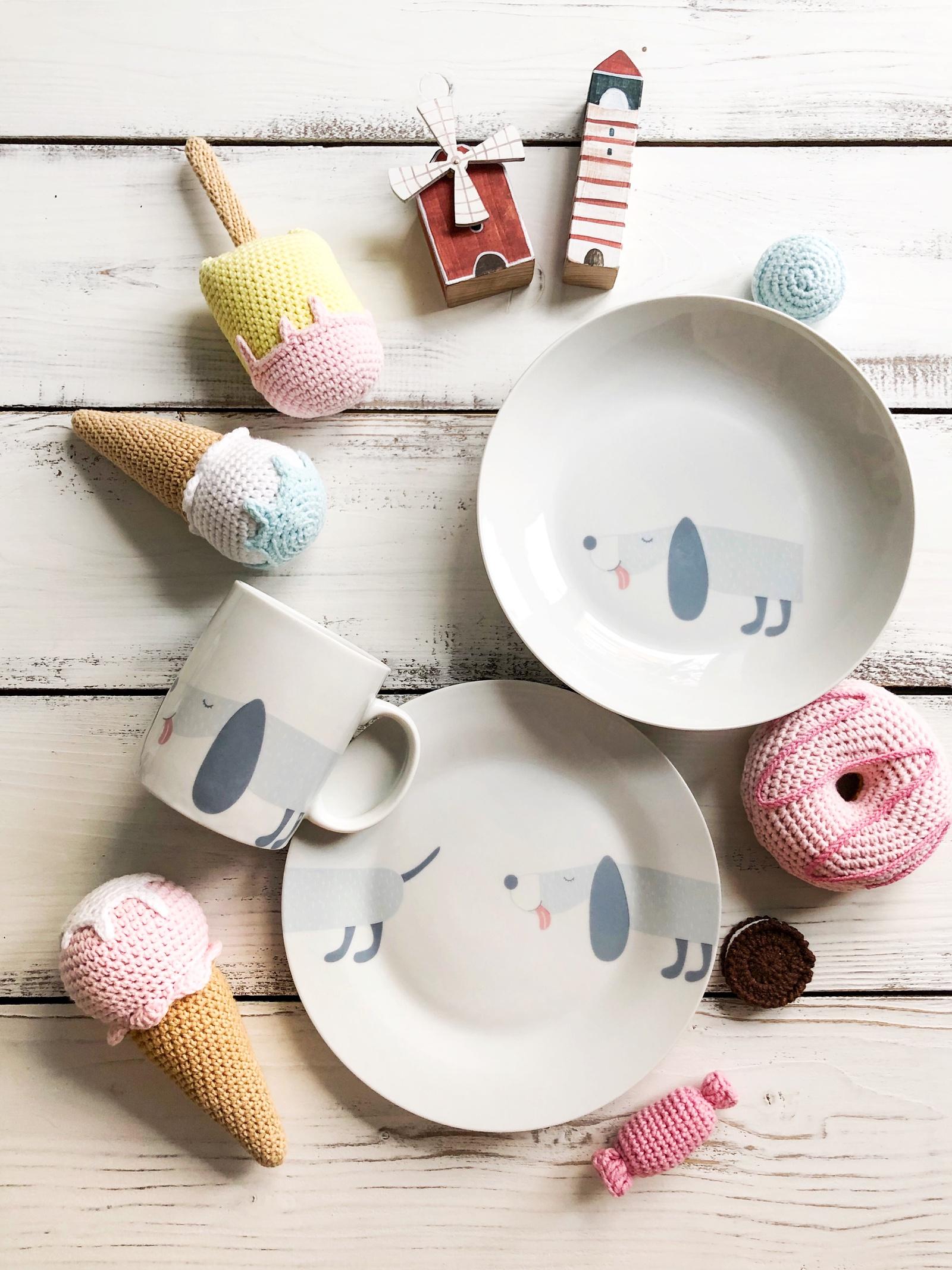 Набор посуды Doggie (3 в 1: кружка+тарелка+глубокая тарелка Sans Brides)