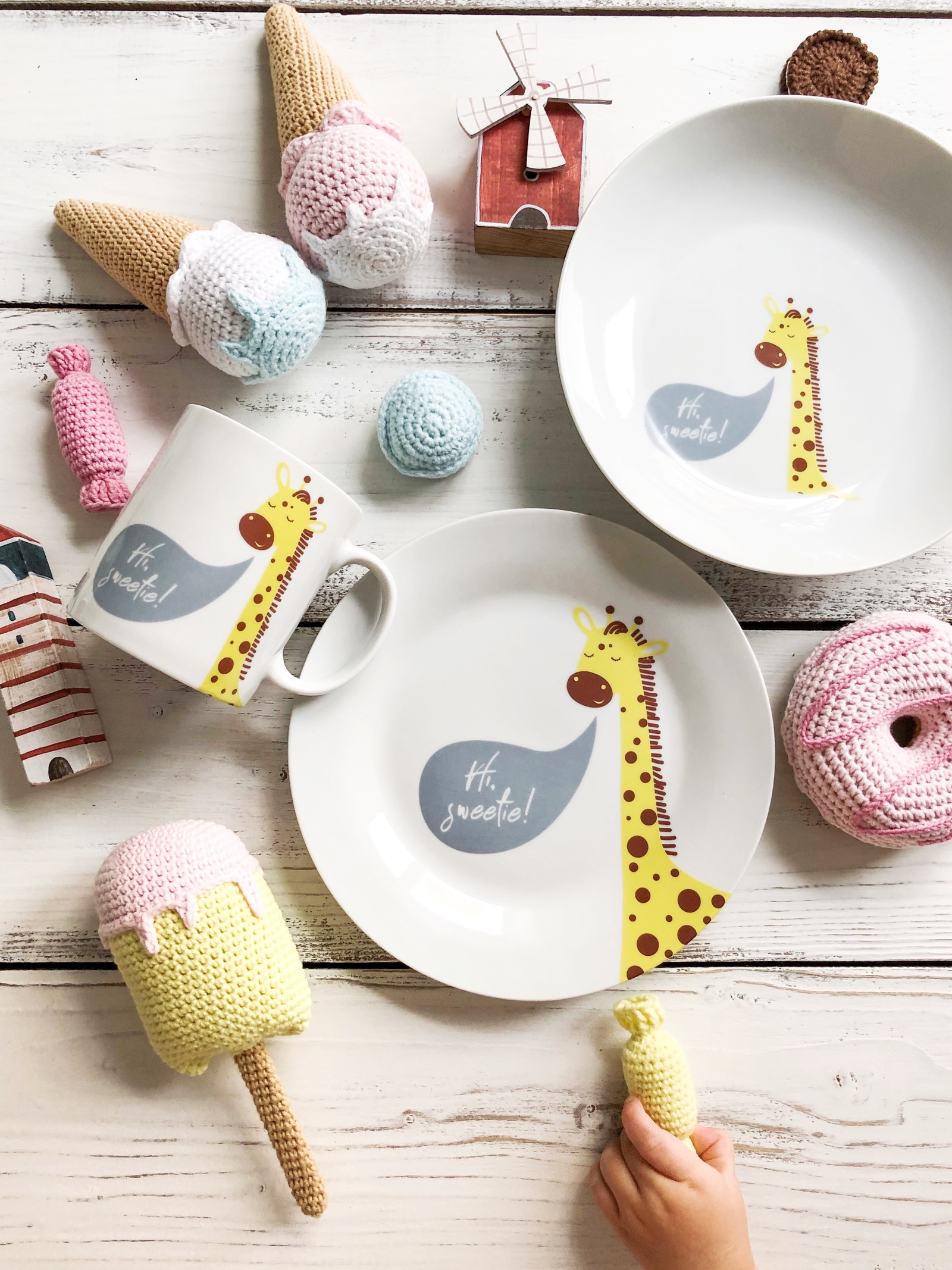 Набор посуды Sweetie (3 в 1: кружка+тарелка+глубокая тарелка Sans Brides)