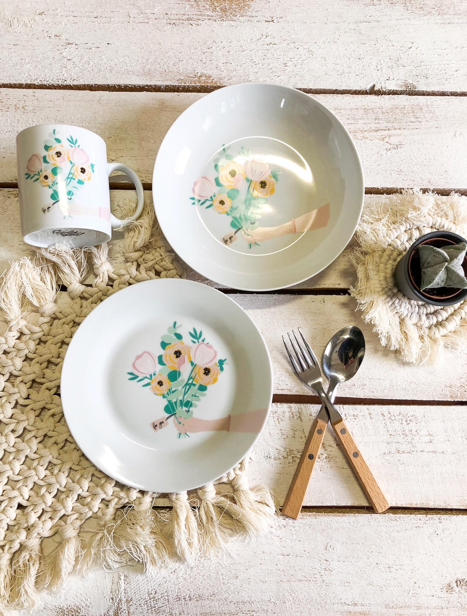 Набор посуды For you (3 в 1: кружка+тарелка+глубокая тарелка Sans Brides )