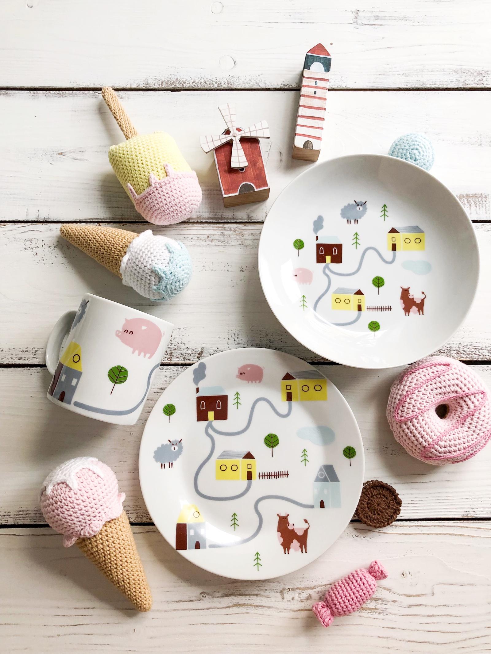 Набор посуды Village (3 в 1: кружка+тарелка+глубокая тарелка Sans Brides)