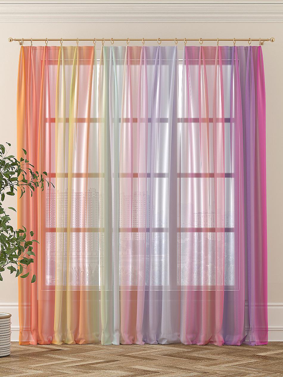 Тюль Томдом Рэйнбо, желтый, оранжевый, розовый, фиолетовый шторы томдом классические шторы хайм цвет бежевый