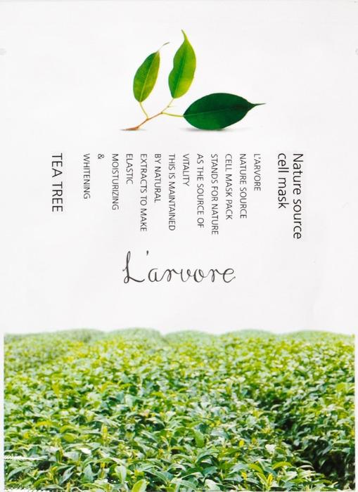 Тканевая маска для лица L'Arvore Nature Source Cell Mask Tea Tree, с экстрактом зеленого чая, 25 г маска д лица подтягивающая с коллагеном и экстрактом зеленого чая тканевая основ1шт 23мл 24шт sl 211