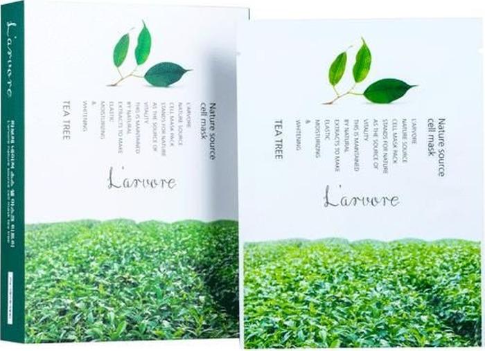 Набор тканевых маскок для лица L'Arvore Nature Source Cell Mask Tea Tree, с экстрактом зеленого чая, 5 шт тканевая маска для лица l arvore nature source cell mask tea tree с экстрактом зеленого чая 25 г