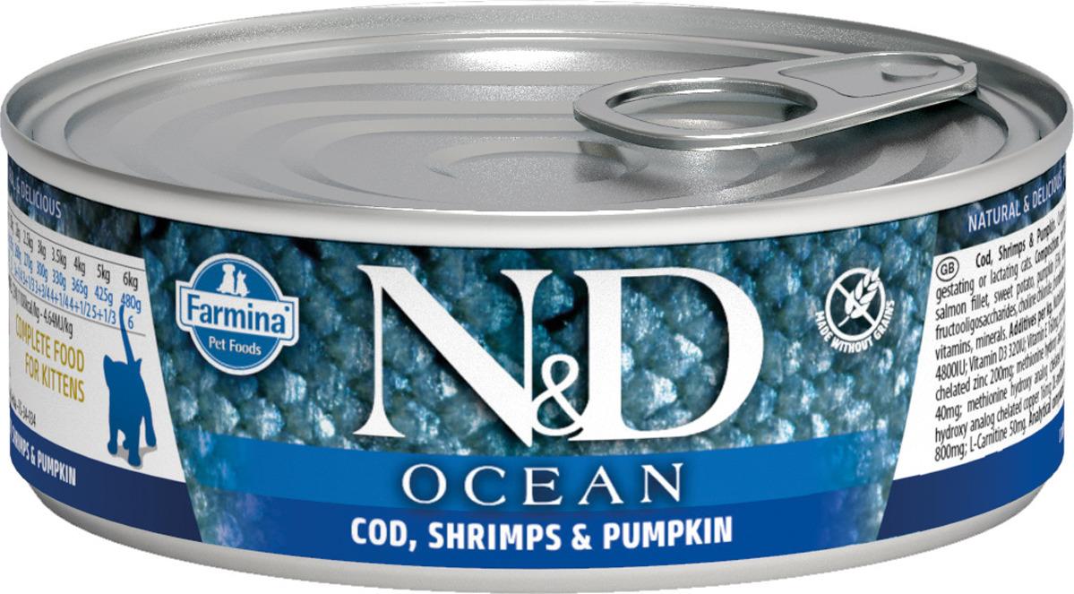 Корм консервированный Farmina N&D Ocean для котят, c треской, креветками и тыквой, 80 г корм консервированный favorite premium тушенка для котят 100 г