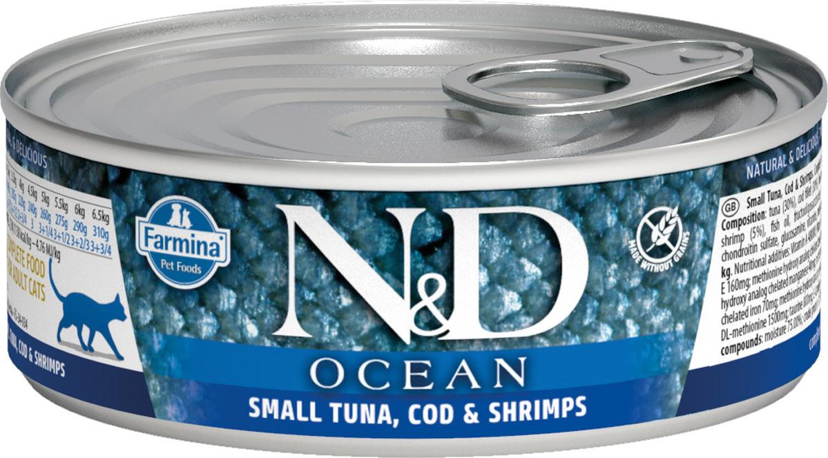 Корм консервированный Farmina N&D Ocean для кошек, с тунцом и креветками, 80 г john west тунец с базиликом инфьюжнс 80 г