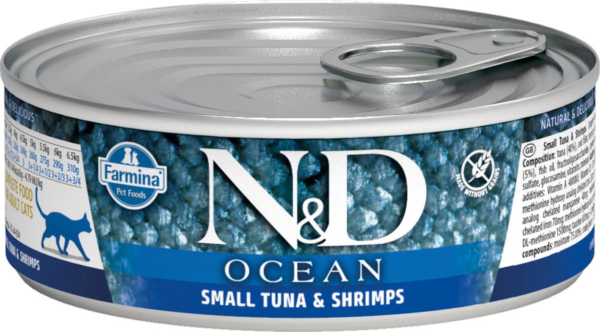 Корм консервированный Farmina N&D Ocean для кошек, с тунцом, треской и креветками, 80 г john west тунец с базиликом инфьюжнс 80 г