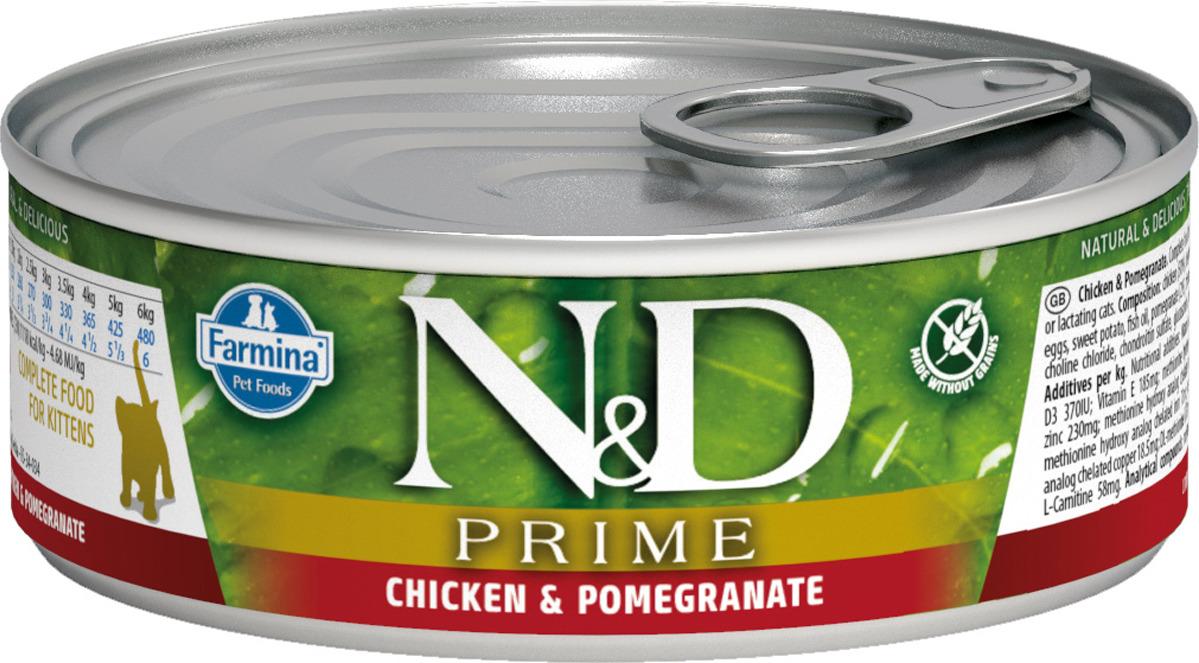 Корм консервированный Farmina N&D Prime для котят, с курицей и гранатом, 80 г