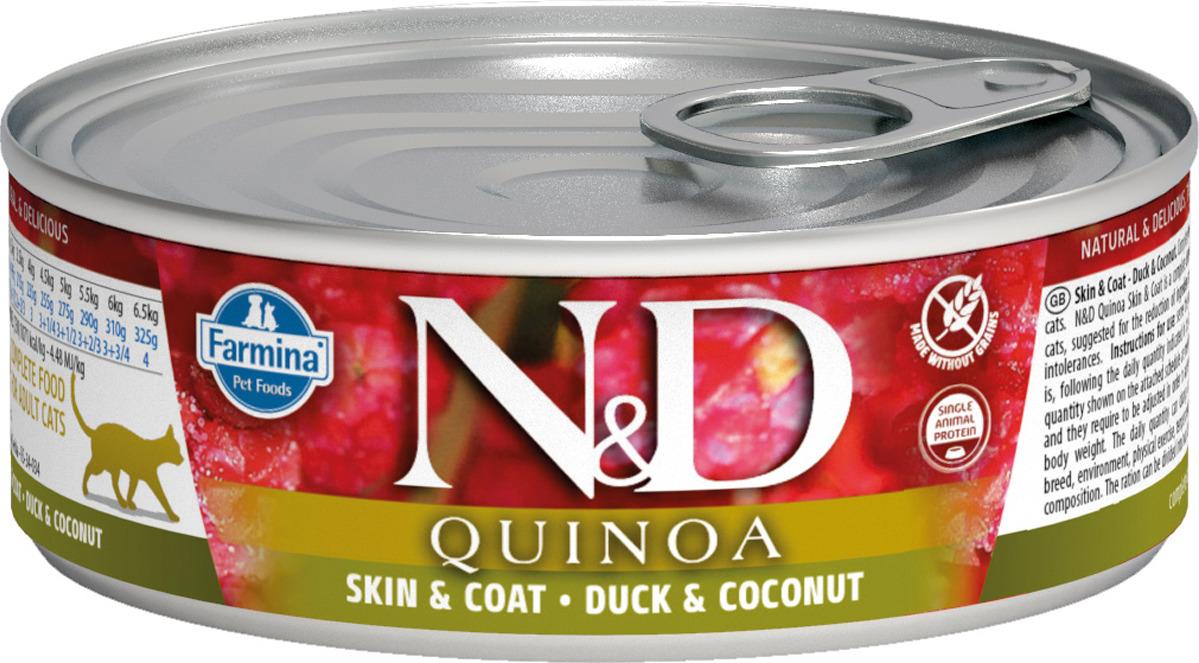 Корм консервированный Farmina N&D для кошек, с киноа, уткой и кокосом, 80 г