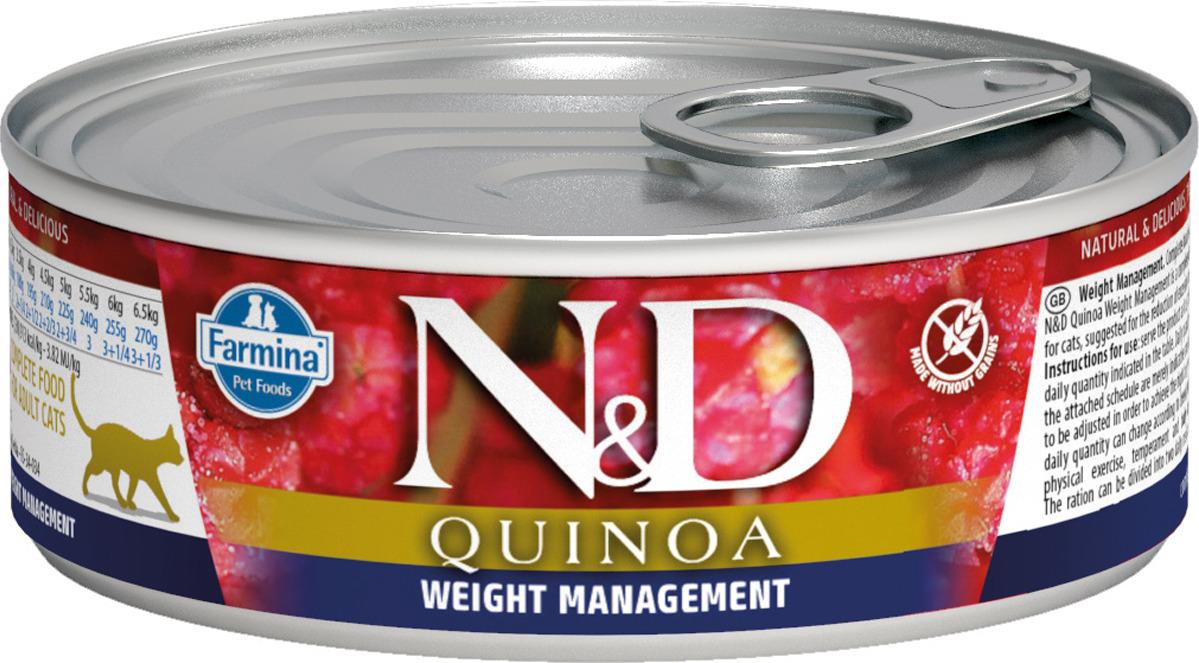 Корм консервированный Farmina N&D для кошек, с киноа, для контроля веса, 80 г корм консервированный для кошек farmina matisse мусс с ягненком 85 г