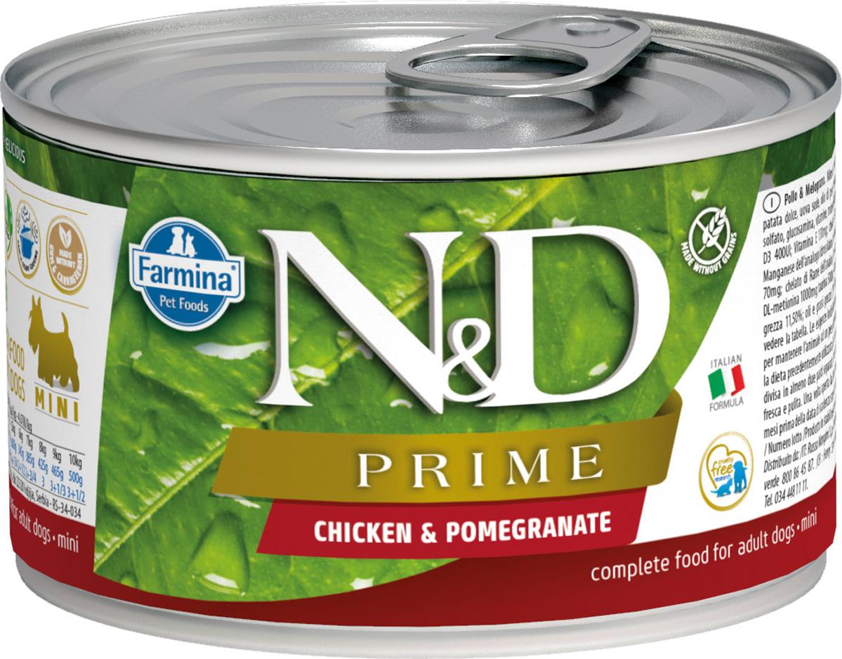 Корм консервированный Farmina N&D Prime для собак, с курицей и гранатом, 140 г8606014102277Корм консервированный Н&Д для собак прайм, курица и гранат мини