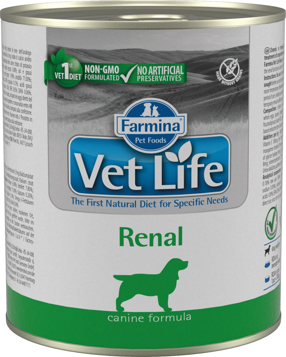 Корм консервированный Farmina Vet Life Renal для собак, паштет, 300 г farmina farmina vet life natural diet cat renal 2 кг