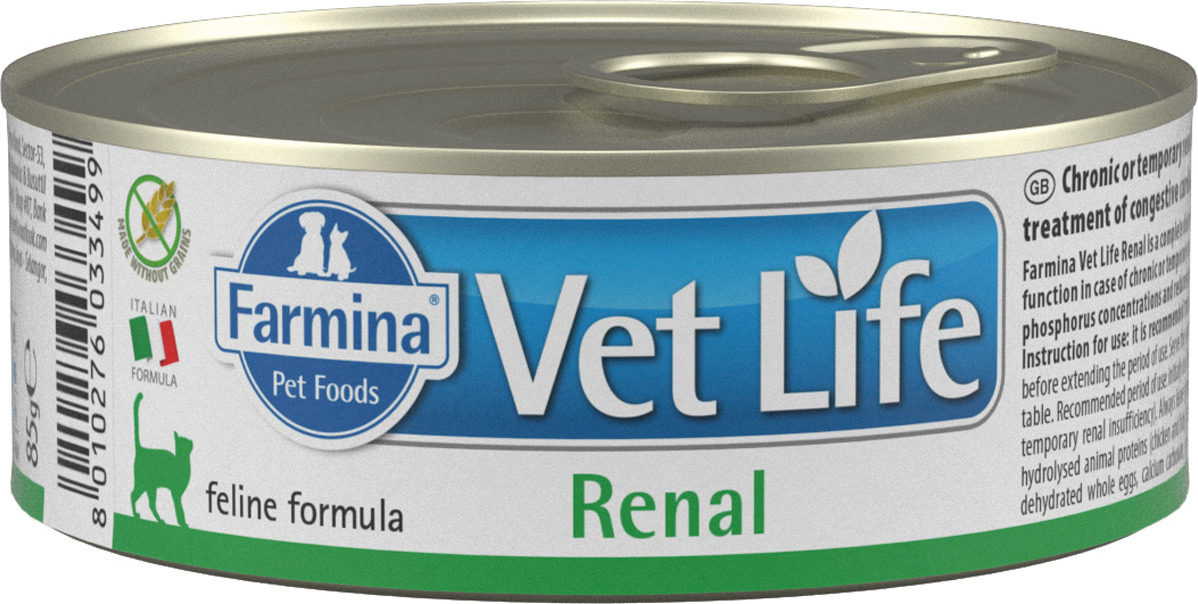 Корм консервированный Farmina Vet Life Renal для кошек, паштет, 85 г farmina farmina vet life natural diet cat renal 2 кг