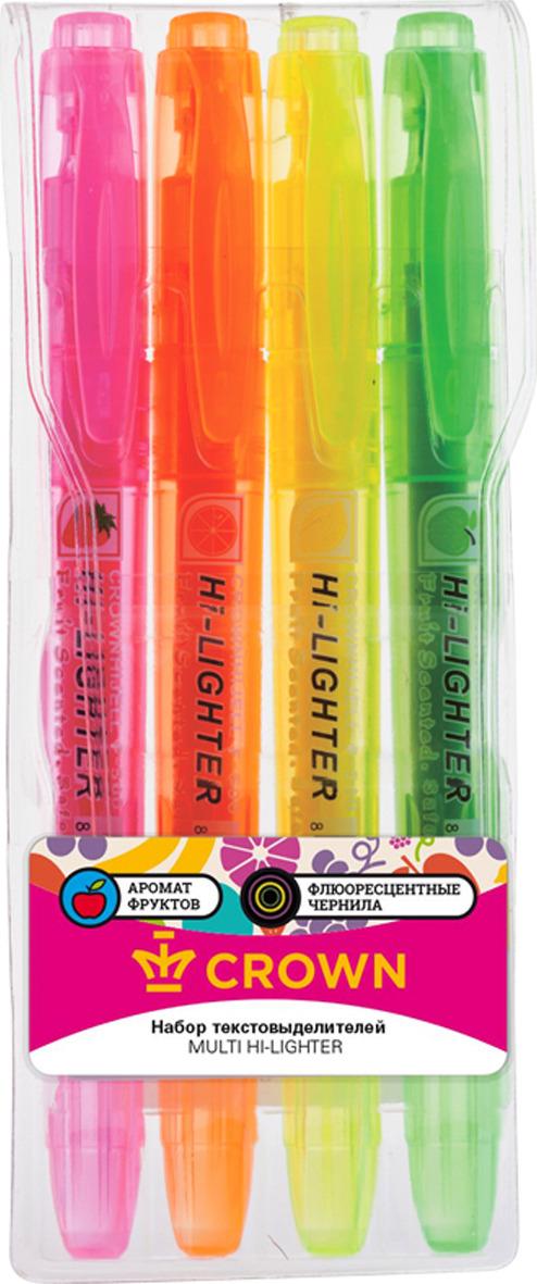 Набор текстовыделителей Crown Multi Hi-Lighter Aroma, 207921, 4 цвета набор текстовыделителей silwerhof prime 4 цвета 108031 00