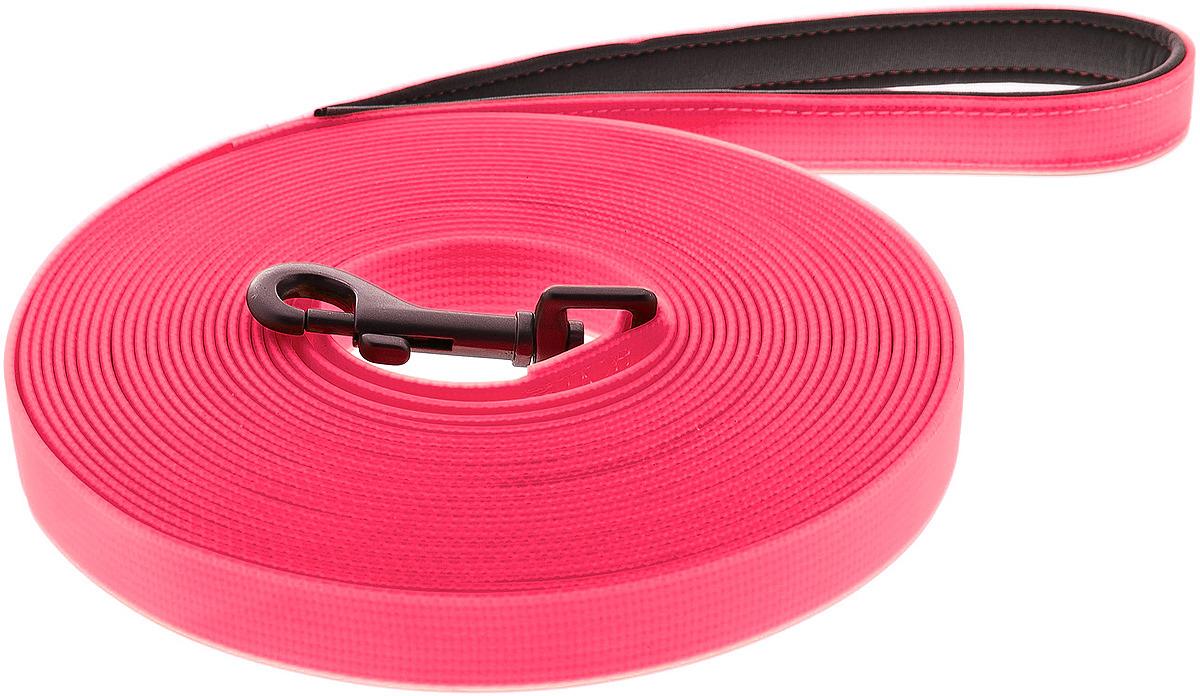 Поводок для собак Ferribiella Lunghina Fun Flat, 47286, розовый, длина 10 м