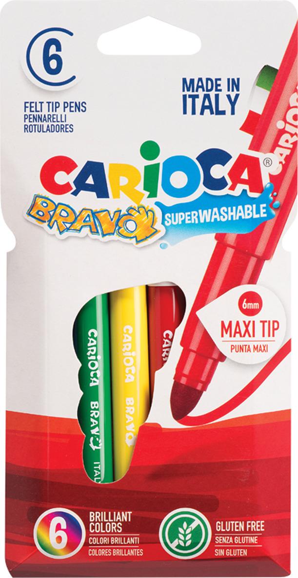 Фломастеры Carioca Bravo, 262569, 6 цветов carioca набор пластиковых мелков plastello 12 цветов