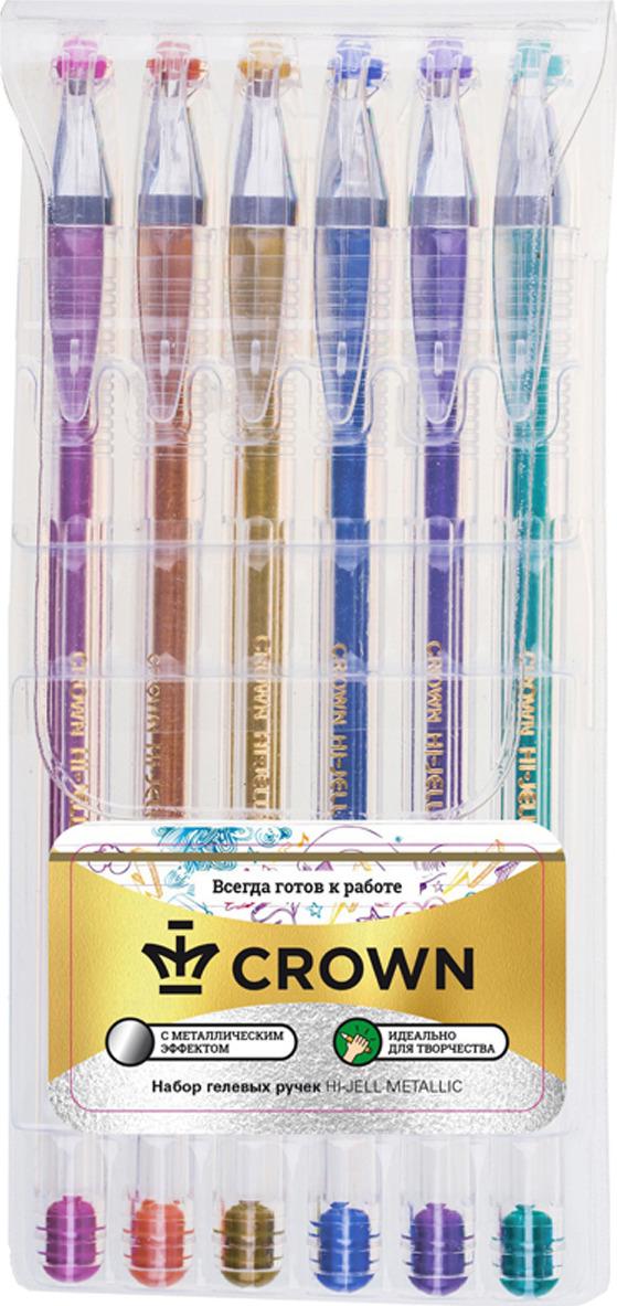 Набор гелевых ручек Crown Hi-Jell Metallic, 95176, 6 цветов набор сменных стержней crown hi jell color для гелевых ручек 2158 цвет чернил голубой 12 шт