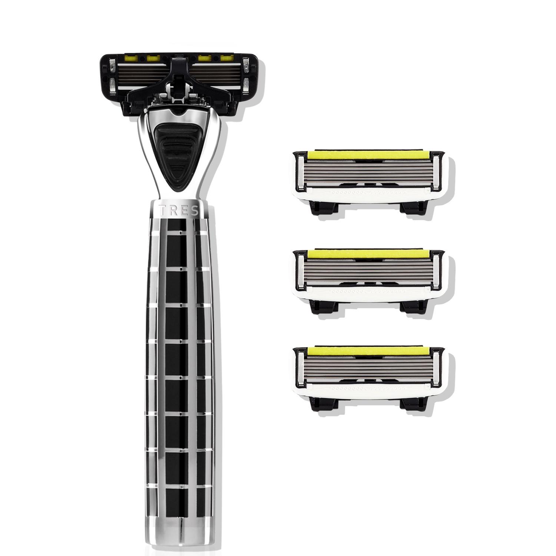 Бритвенный станок Shave Lab TRES Black- P.6 - Черный/серебро, комплект 6 лезвий х 4шт