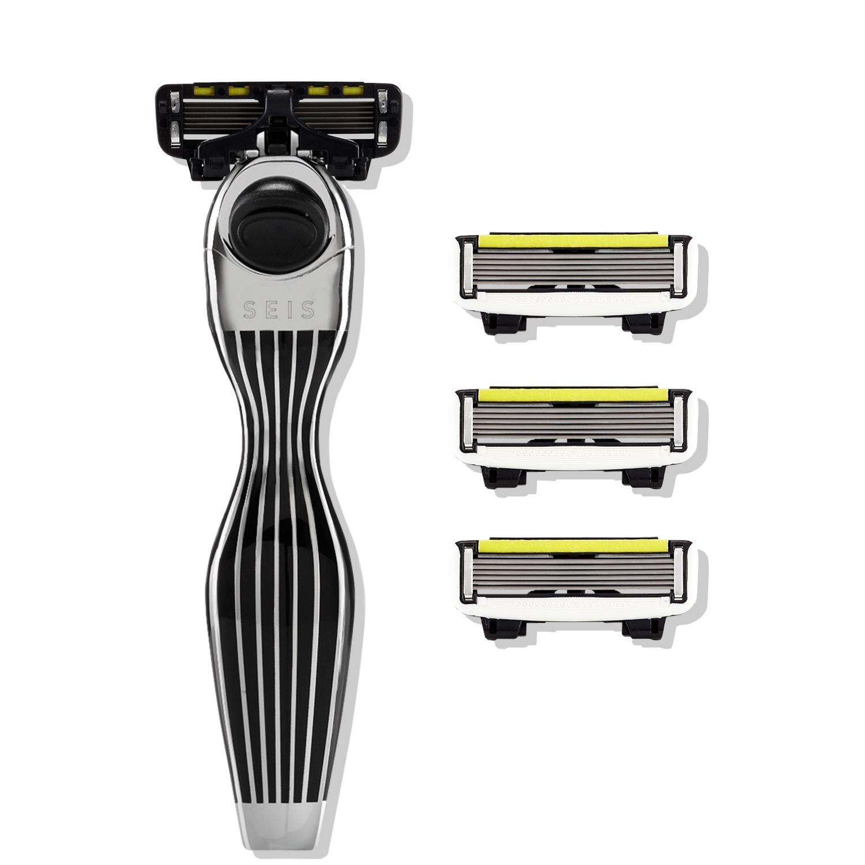 Бритвенный станок Shave Lab SEIS Black- P.6 - Черный/серебро, комплект 6 лезвий х 4шт
