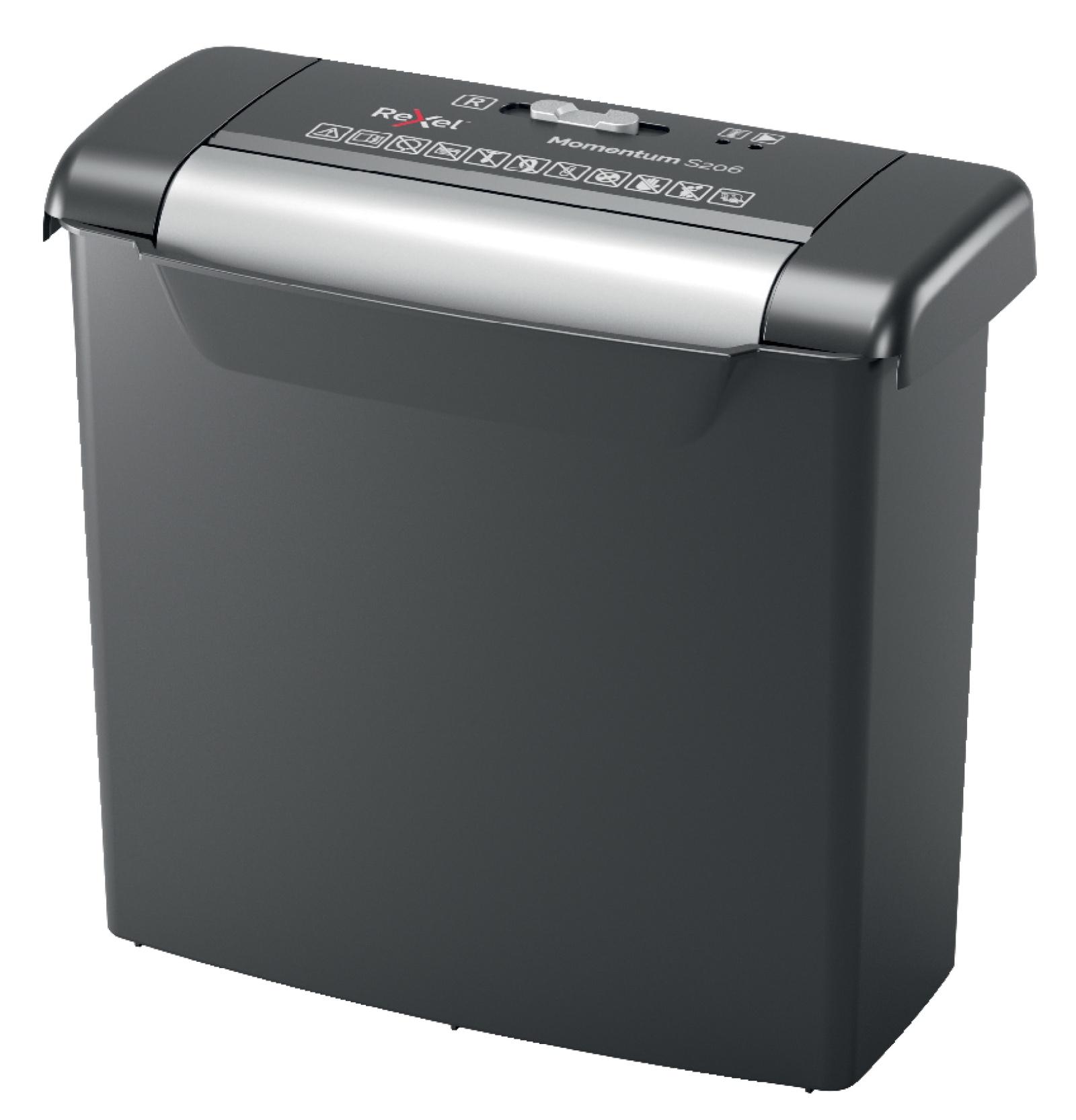 Шредер Rexel Momentum S206, черно-серый