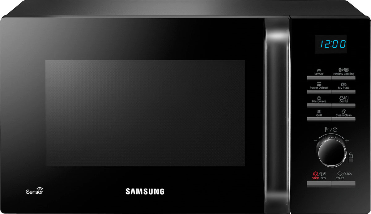 Микроволновая печь Samsung, с грилем, MG23H3115NK/BW, черный samsung ge83krqw 2 bw