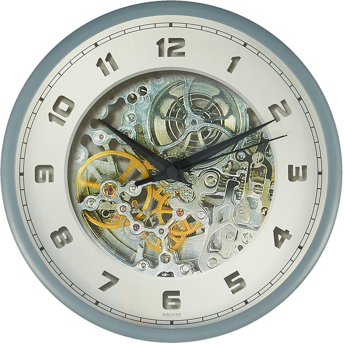 """Настенные часы """"Скелетон"""" круглые, с рамкой, 653047, серый"""