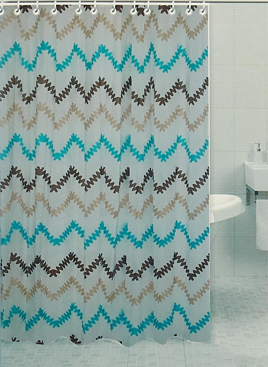 Штора для ванной комнаты RPE-730010, белый, 180 х 180 см