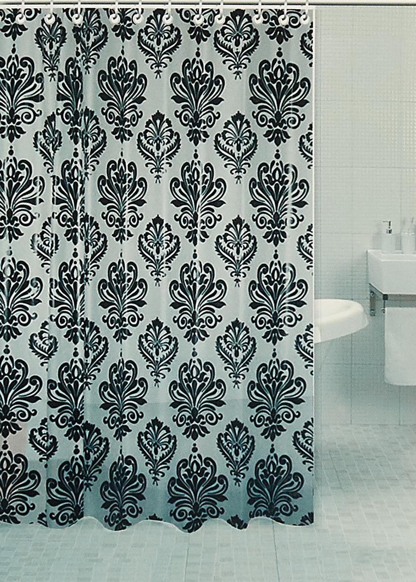 Штора для ванной комнаты RPE-730013, белый, 180 х 180 см