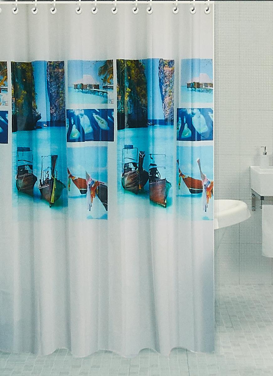 Штора для ванной комнаты RPE-730011, белый, 180 х 180 см