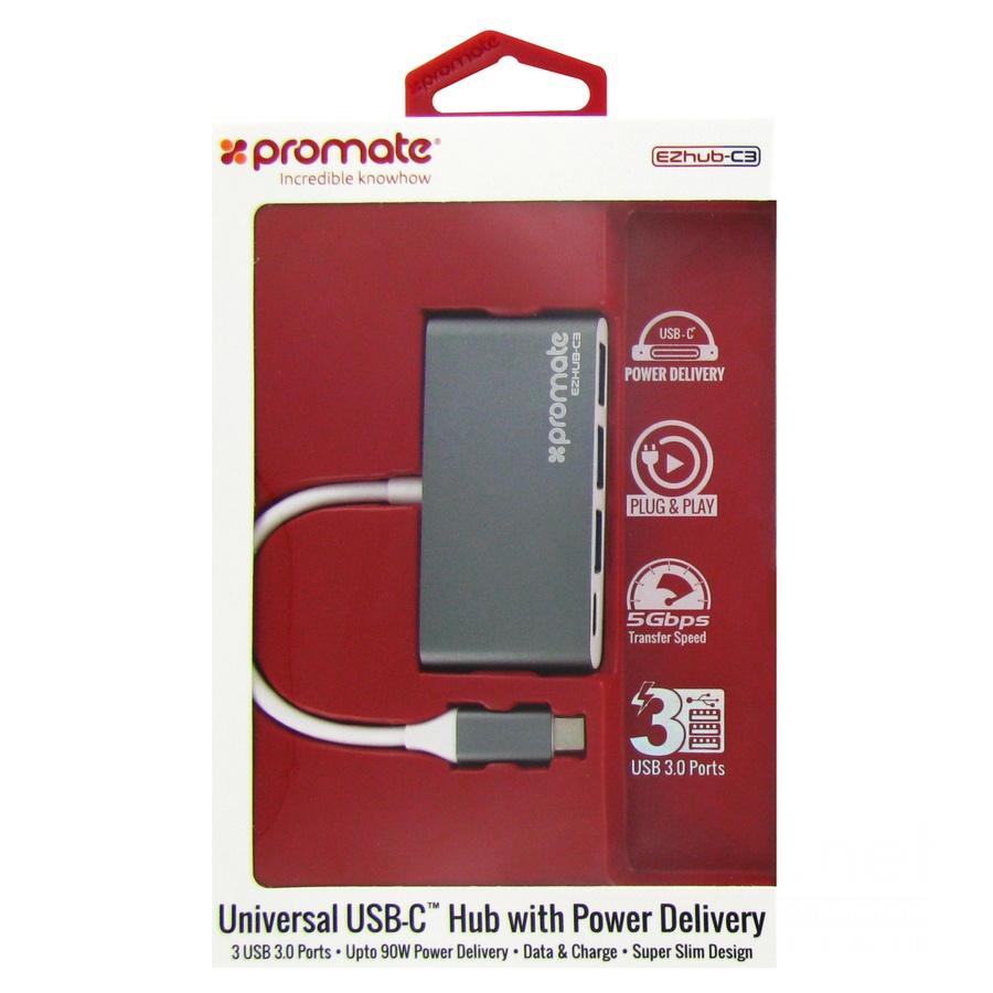 USB-концентратор Promate EZHub-C3, серый