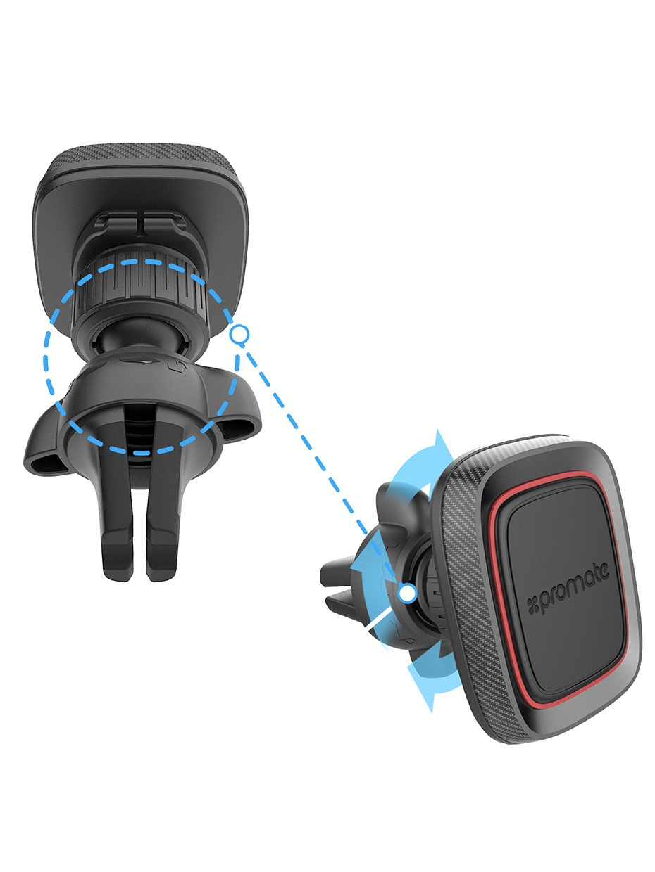 Автомобильный держатель Promate AirGrip-1, красный, черный противоскользящий мягкий чехол для смартфона