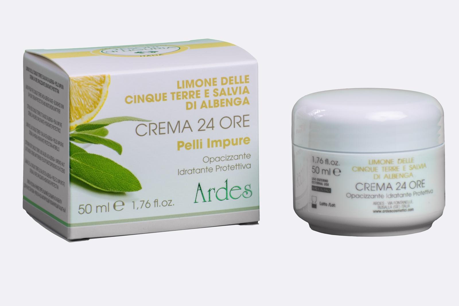 Крем матирующий увлажняющий защитный 24 часа для проблемной кожи с Лимоном и Шалфеем.  Crema 24 ore pelli Impure 50 мл.  Ardes