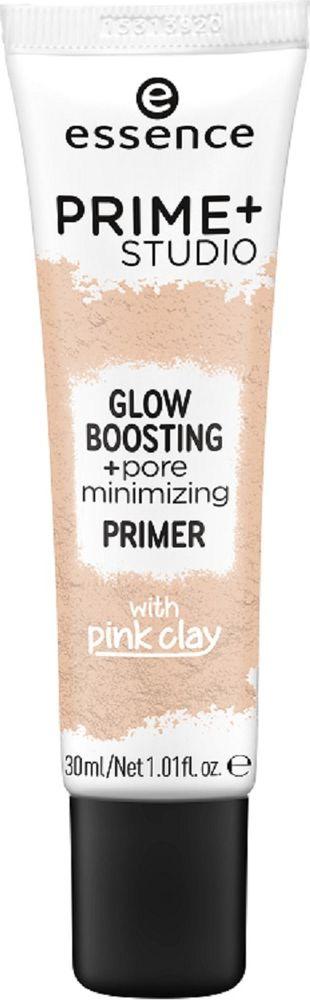 Праймер для лица Essence Prime+ studio glow boosting +pore minimizing primer, бежевый, 30 мл спрей праймер с кокосовой водой essence prime and studio hd hydra primer spray