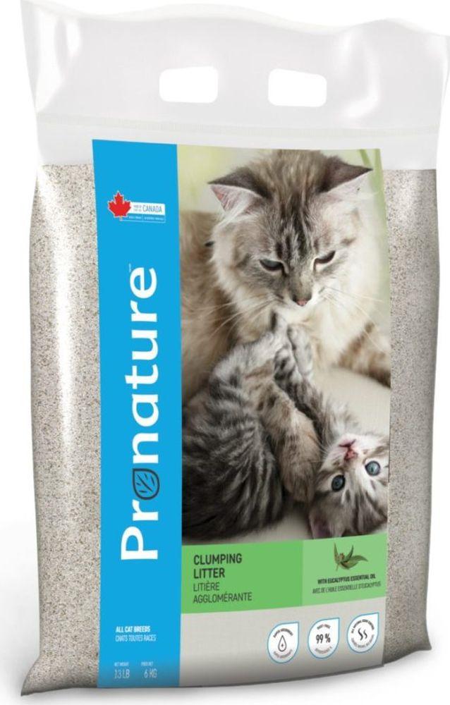 Наполнитель для кошачьего туалета Pronature, комкующийся, с маслом эвкалипта, 6 кг наполнитель для кошачьего туалета catsan 9572 ультра комкующийся 5л