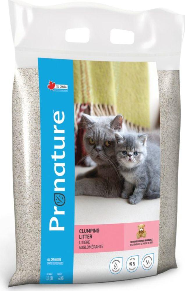 Наполнитель для кошачьего туалета Pronature, комкующийся, с ароматом детской присыпки, 6 кг наполнитель для кошачьего туалета unicharm с ароматом мыла