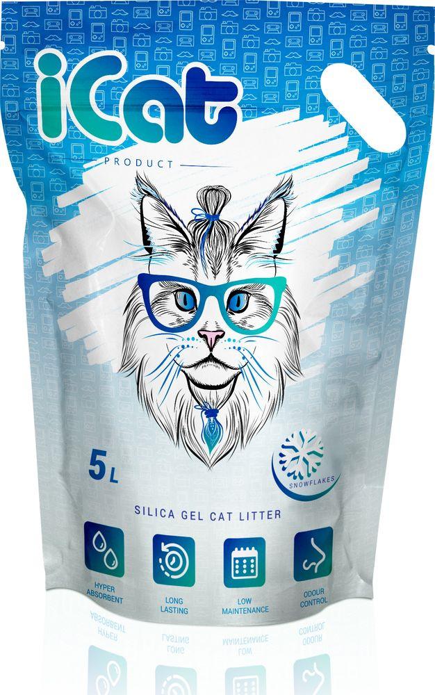 Наполнитель для кошачьего туалета iCat Snow Flakes, силикагелевый, впитывающий, 5 л171.004