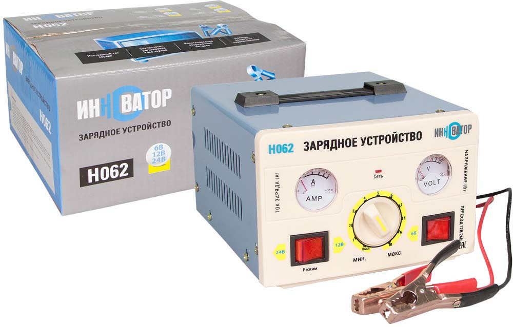 Зарядное устройство Инноватор, 12А (6/12/24В), серый зарядное устройство для автомобильных аккумуляторов houde 15000 mah hd18