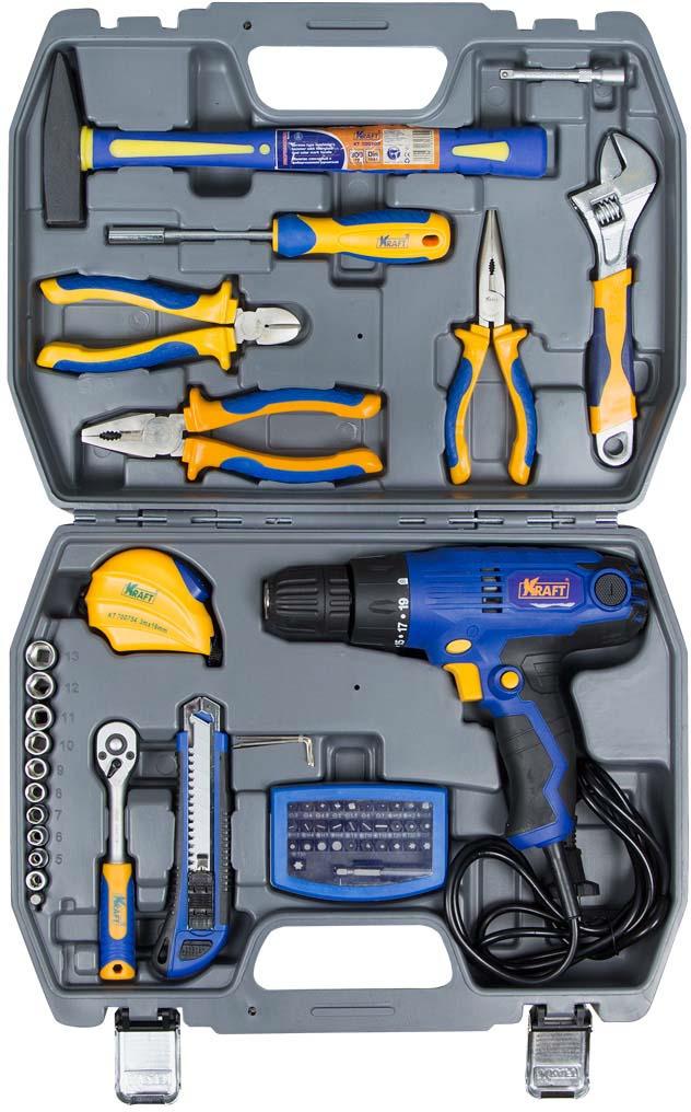 Набор инструментов Kraft Professional, с сетевым шуруповертом, серый металлик, синий, желтый, 58 предметов набор инструментов kraft professional с сумкой 9 предметов